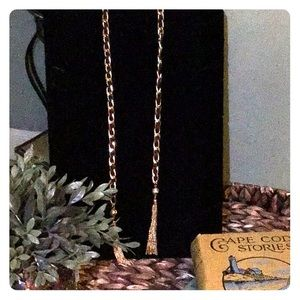 Jewelry - Gold and black leather chain